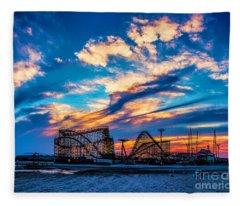 Wildwood Beach Sunset Fleece Blanket