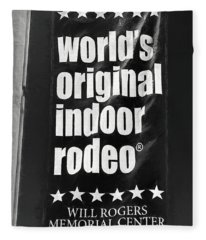 Will Rogers Rodeo Bw Fleece Blanket