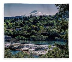 Willamette River Falls Locks Fleece Blanket
