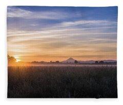Willamette Valley Sunrise Fleece Blanket