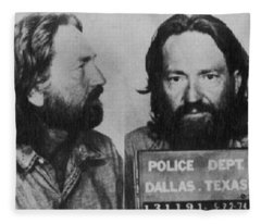 Willie Nelson Mug Shot Horizontal Black And White Fleece Blanket