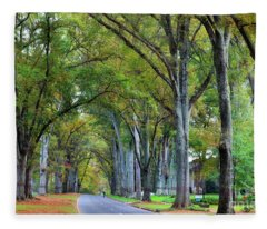 Willow Oak Trees Fleece Blanket