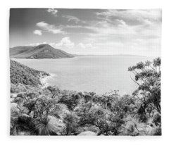 Wilsons Promontory Panorama Black And White Fleece Blanket