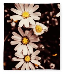 Wilting And Blooming Floral Daisies Fleece Blanket