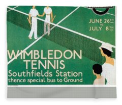 Wimbledon Tennis Southfield Station - London Underground - Retro Travel Poster - Vintage Poster Fleece Blanket