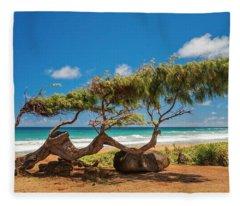 Wind Blown Tree Fleece Blanket