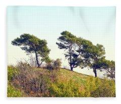Wind Blown Trees Fleece Blanket