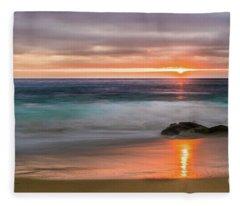 Windansea Beach At Sunset Fleece Blanket