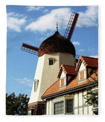 Windmill At Solvang, California Fleece Blanket