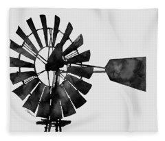 Windmill In Black And White Fleece Blanket