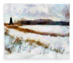 Windmill In The Snow Fleece Blanket