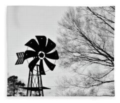 Windmill On The Farm Fleece Blanket