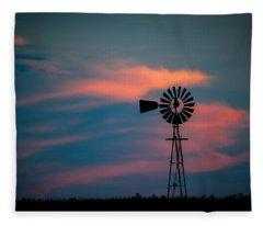 Windmill Sunset Fleece Blanket