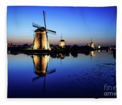 Windmills At Dusk In The Blue Hour Fleece Blanket