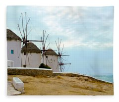 Windmills Of Mykonos I Fleece Blanket