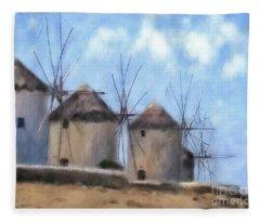 Windmills Of Mykonos Fleece Blanket