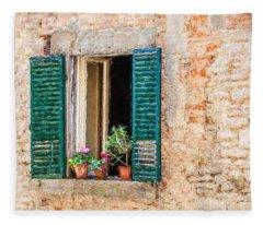 Window Flowers Of Tuscany Fleece Blanket
