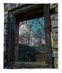 Window Into The Past - Bare's Mill Fleece Blanket