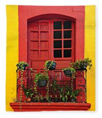 Window On Mexican House Fleece Blanket