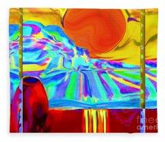 Window On Santa Fe No.4 Fleece Blanket