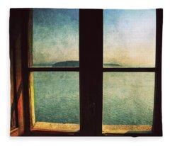 Window Overlooking The Sea Fleece Blanket