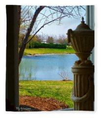 Window View Pond Fleece Blanket