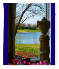 Window View Pond Fleece Blanket