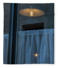 Fleece Blanket featuring the photograph Window With Lamp by Mats Silvan