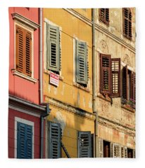 Windows Of Rovinj, Istria, Croatia Fleece Blanket