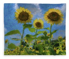 Windsor Castle Sunflowers Fleece Blanket