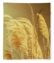 Windswept Autumn Brush Grass Fleece Blanket