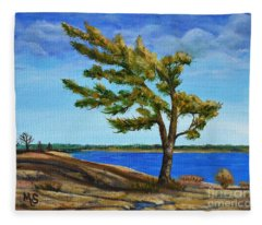 Windswept Tree Fleece Blanket