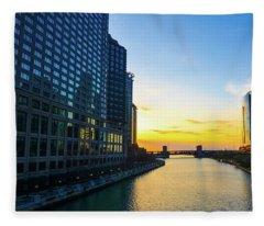 Windy City Sunrise Fleece Blanket