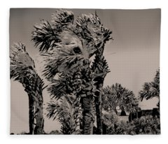 Windy Day At Beach Fleece Blanket