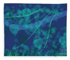 Windy Day - Background Abstract Of Leaves Blowing In The Wind Against Dark Blue Fleece Blanket