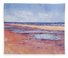 Windy October Beach Fleece Blanket