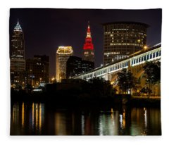 Wine And Gold In Cleveland Fleece Blanket