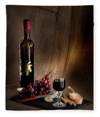 Wine Cheese Grapes Fleece Blanket