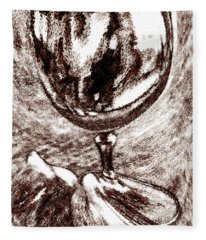 Wine Glass And Figs Still Life Fleece Blanket