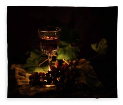 Wine Glass And Grapes Fleece Blanket