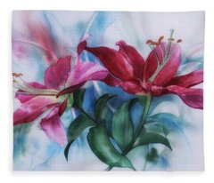 Wine Lillies In Pastel Watercolour Fleece Blanket