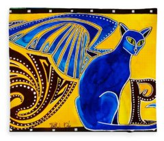 Winged Feline - Cat Art With Letter P By Dora Hathazi Mendes Fleece Blanket