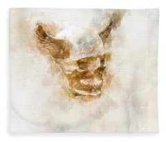 Winged Skull Watercolor Fleece Blanket