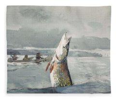 Winslow Homer   Pike  Lake St  John 189 7 Fleece Blanket