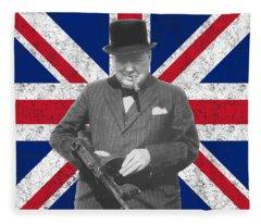 Winston Churchill And His Flag Fleece Blanket