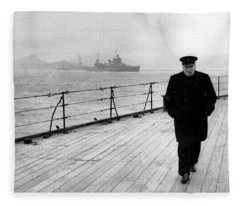 Winston Churchill At Sea Fleece Blanket