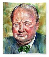 Winston Churchill Portrait Fleece Blanket