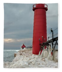 Winter At Grand Haven Lighthouse Fleece Blanket