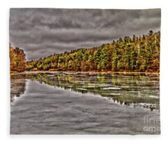 Winter At Pine Lake Fleece Blanket