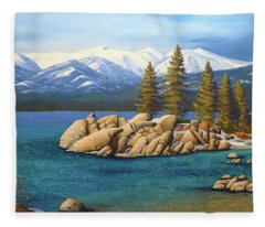 Winter At Sand Harbor Lake Tahoe Fleece Blanket